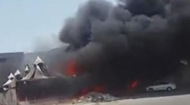 video kebakaran tenda di wilayah Mina
