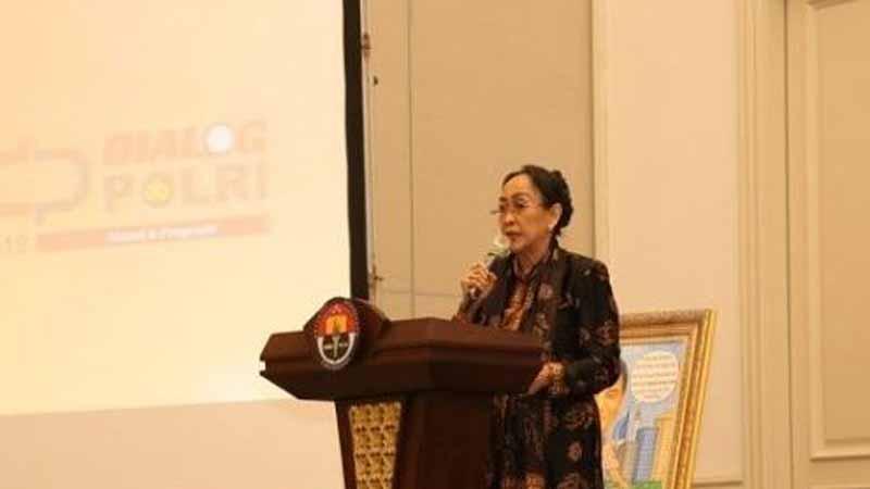 Sukmawati Soekarnoputri dalam sebuah diskusi di Jakarta Selatan