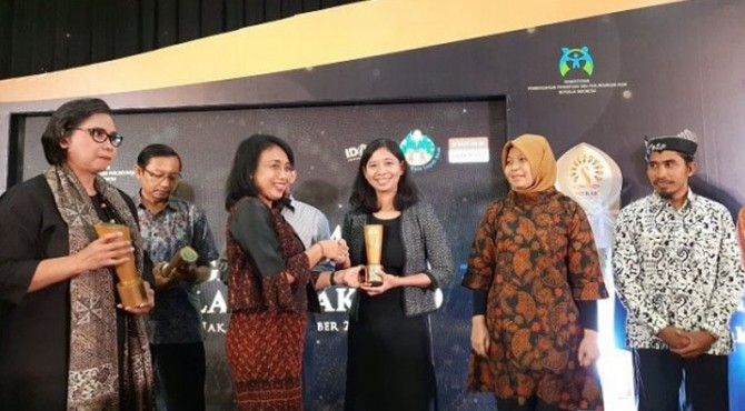 Suara.com meraih penghargaan kategori Media Menginspirasi dalam acara Penganugerahan Piala Merak dari Kementerian Pemberdayaan Perempuan dan Perlindungan Anak Republik Indonesia (Kemen PPPA) di Wisma Antara, Senin (9/12/2019).