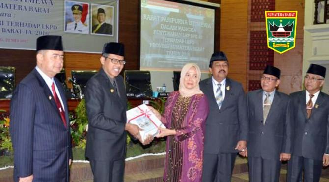 Gubernur Sumatera Barat peroleh opini Wajar Tanpa Pengecualian (WTP) dari BPK-RI