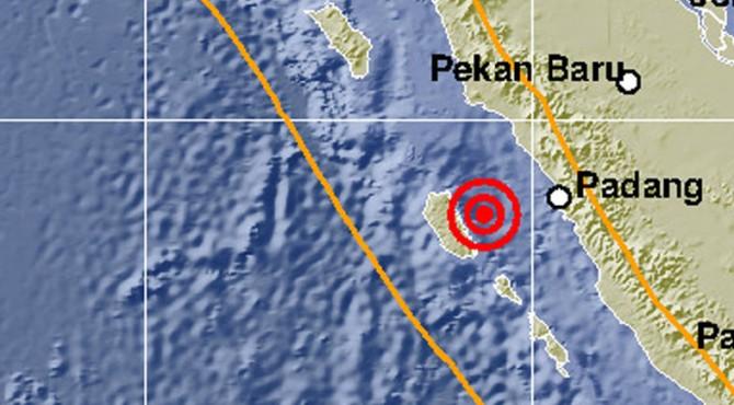 Peta lokasi gempa Mentawai, Sabtu (26/10/2019) pukul 03.25 WIB