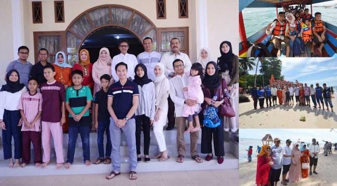 Kunjungan Gubernur Sumbar, Irwan Prayitno dan keluarga ke Kota Pariaman, selain bersilaturahmi, Gubernur juga berlebaran dan berwisata ke Pulau Angso Duo.