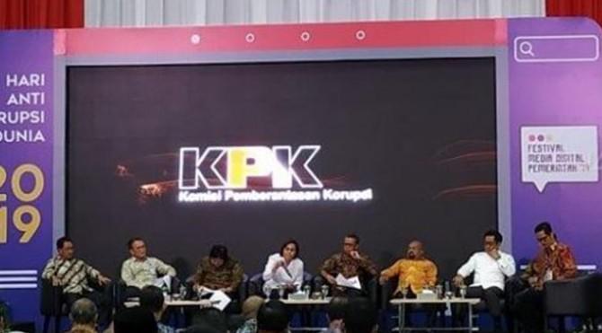 Menteri Keuangan Sri Mulyani dalam acara Hakordia 2019 di KPK