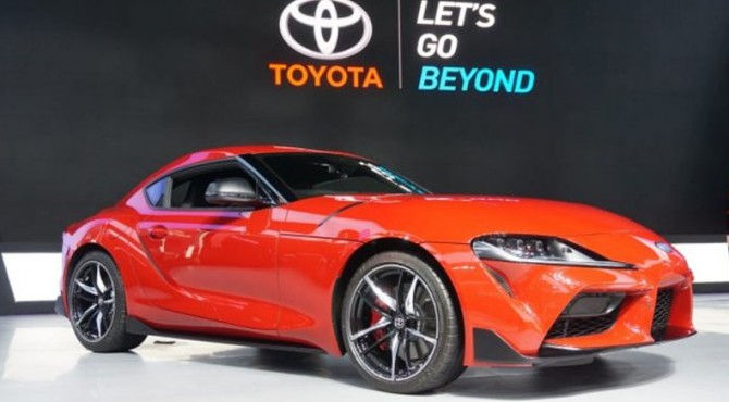 Toyota GR Supra diluncurkan di arena GIIAS 2019, ICE, Serpong, Banten, Kamis (18/7/2019).