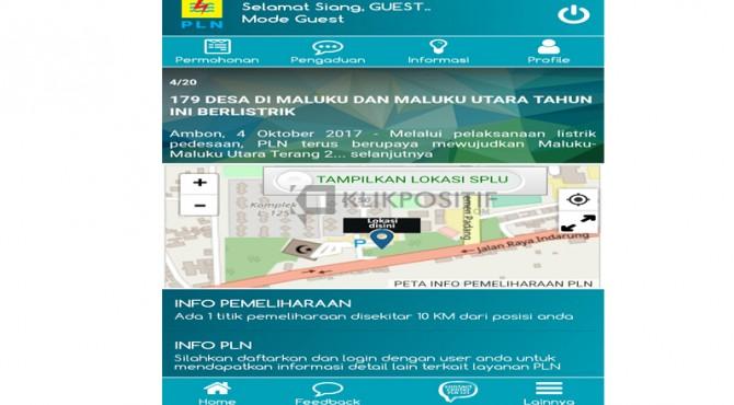 Tampilan laman awal aplikasi PLN Mobile