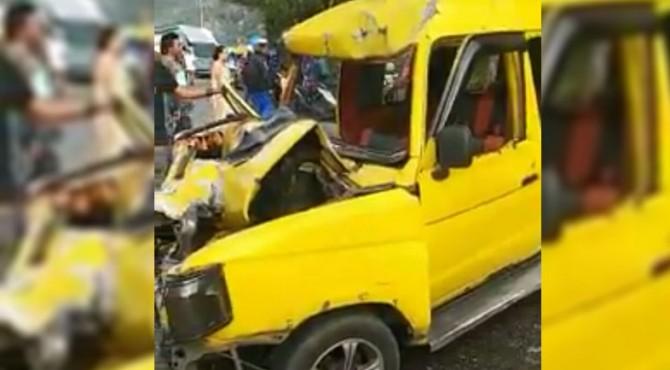 Kondisi angdes yang rusak parah setelah bertabrakan dengan bus NPM
