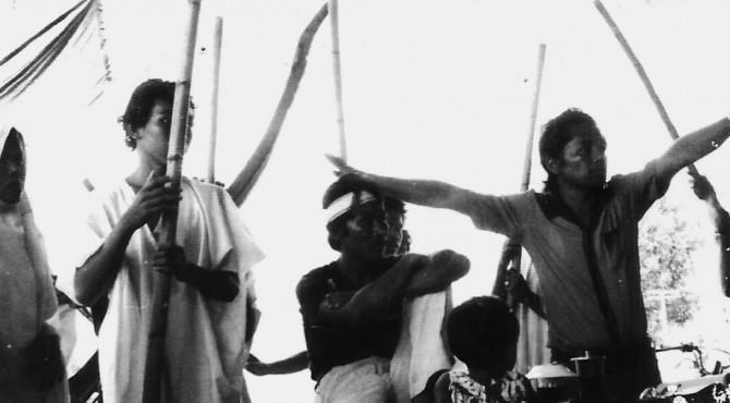 Proses latihan pertunjukan Imam Bonjol karya Wisran Hadi di Lapai pada 1982