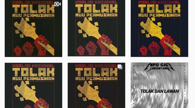 Beberapa poster penolakan RUU Permusikan yang beredar di Instagram