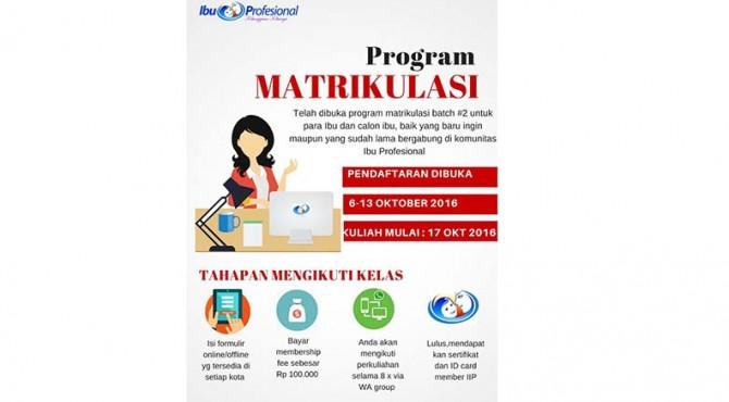 Pendaftaran matrikulasi batch 2 Institut Ibu Profesional.