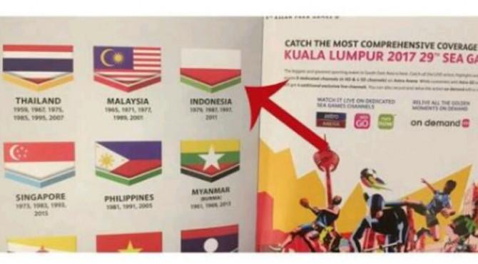 Bendera Indonesia terbalik di buku pembukaan SEA Games 2017