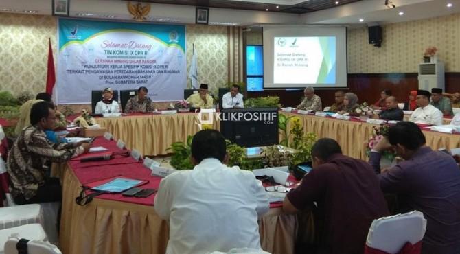 Pertemuan Komisi IX DPR RI dengan BPOM Padang dan Pemko Padang di Kantor BPOM Padang usai melakukan sidak, Selasa, 21 Mei 2019