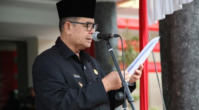 Wakil Gubernur Sumbar Nasrul Abit, saat upacara hari Lahir Pancasila