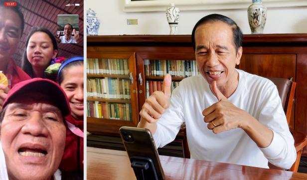 Presiden Joko Widodo menelepon para peraih medali emas dari cabang para-badminton di Paralimpiade Tokyo 2020. Minggu (05/09/2021).