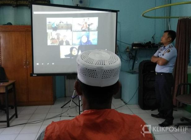 Suasana sidang online di Lapas Klas II B Payakumbuh