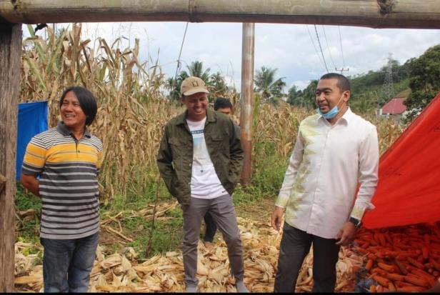 Calon Wakil Gubernur (Cawagub) Sumatera Barat (Sumbar), Audy Joinaldy bersama rombongan mengunjungi ladang jagung di daerah  Jorong Koto Tinggi Magari Lubuak Gadang Kecamatan Sangir, Kabupaten Solok Selatan, Kamis 15 Oktober 2020