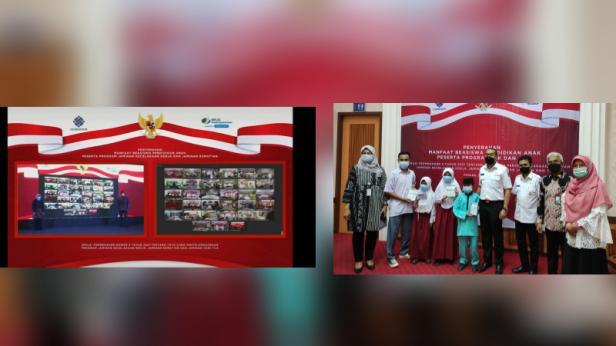 BPJS Ketenagakerjaan atau BPJamsostek menyerahkan manfaat beasiswa pendidikan anak peserta program Jaminan Kecelakaan Kerja (JKK) dan Jaminan Kematian (JKM) secara serentak di 33 provinsi di Indonesia, Rabu, 21 April 2021.