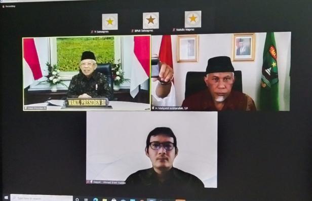 Gubernur Sumatera Barat, Buya Mahyeldi, melaksanakan zoom meeting bersama Wakil Presiden RI, KH Maaruf Amin, Rabu (23/06/2021).