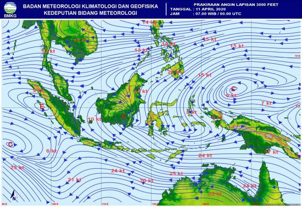 Prakiraan Angin Lapisan 3000 Feet pada 11 April 2020 pukul 07.00 WIB