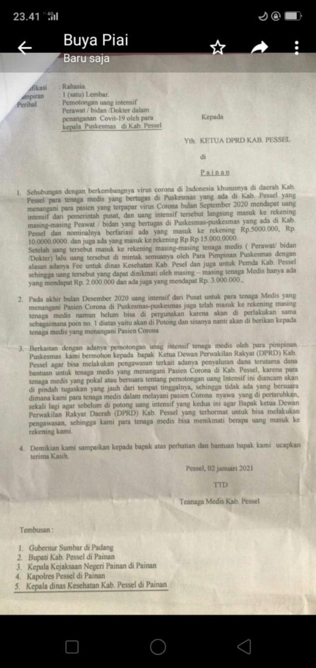 Surat mengatasnamakan tenaga medis Pessel
