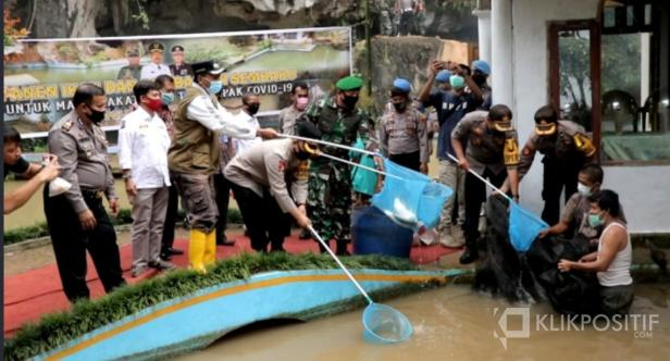 Bupati dan jajaran Polri saat panen ikan dan pembagian sembako di Sitanang, Lareh Sago Halaban
