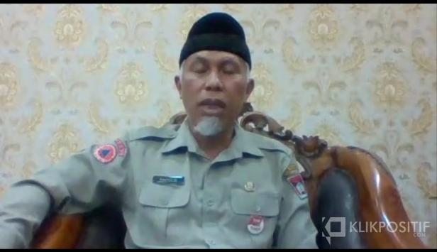 Walikota Padang Mahyeldi Saat Jumpa Pers Online