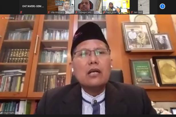 Ketua Komisi Dakwah MUI Pusat Prof. KH.M.Cholil Nafis, LC,MA, Ph.D ketika tampil sebagai narasumber  Webinar dengan tema,