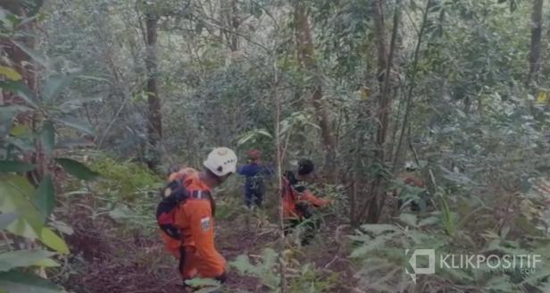 Tim Basarnas 50 Kota bersama relawan dan warga sekitar saat melakukan pencarian di dalam hutan