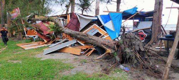 Kedai hancur akibat ditimpa pohon tumbang
