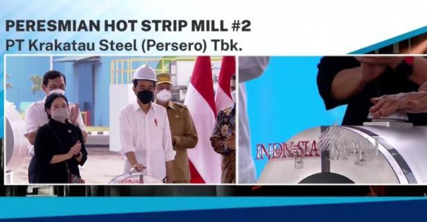 Presiden Joko Widodo meninjau sekaligus meresmikan Pabrik Hot Strip Mill #2 milik PT Krakatau Steel (Persero) Tbk, di Kota Cilegon, Provinsi Banten, Selasa (21/09/2021)