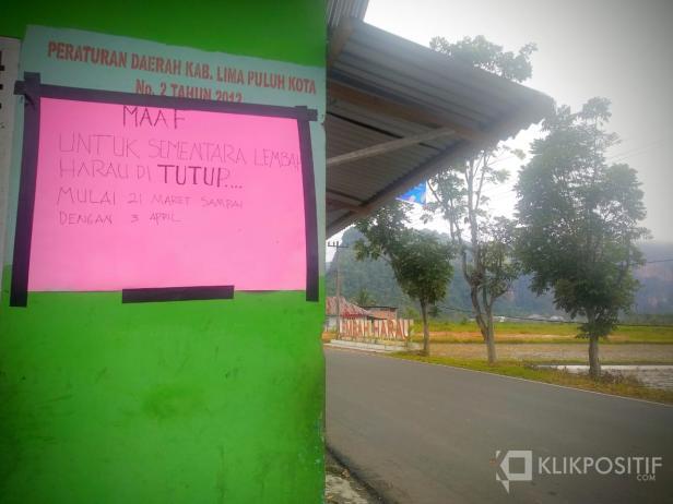 Informasi Penutupan Lembah Harau di Gerbang Masuk