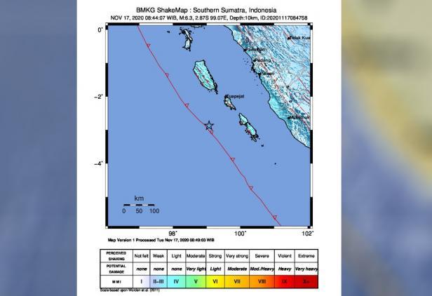 Peta guncangan gempa yang terjadi di Mentawai