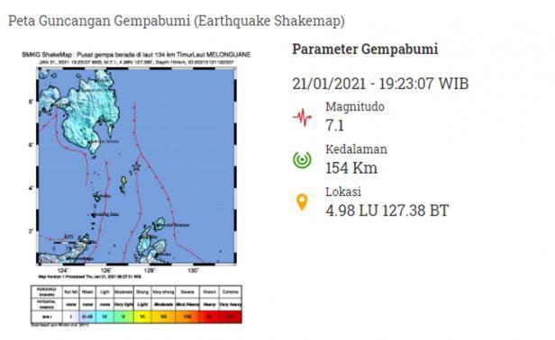 Peta guncangan gempa bumi