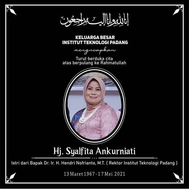 Innalillah, Istri Rektor Institut Teknologi Padang Meninggal Dunia
