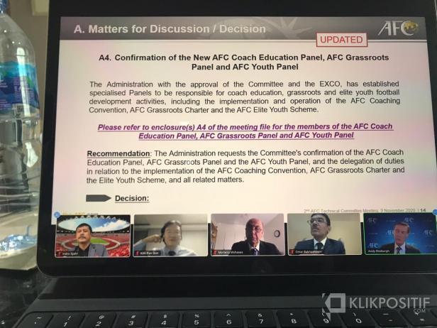 Indra Sjafri saat mengikuti Rapat Teknis Komite AFC secara virtual tadi malam, Senin 9 November 2020.