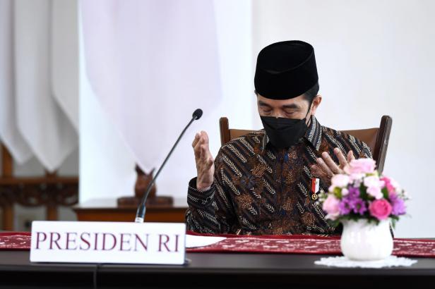 Presiden Jokowi pada acara #PrayFromHome: Dari Rumah untuk Indonesia, MInggu (11/07/2021) siang, secara virtual.