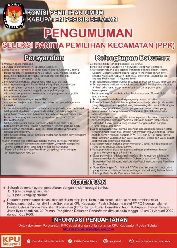 Surat Pengunguman Penerimaan PPK KPU Pessel untuk Pilkada 2020