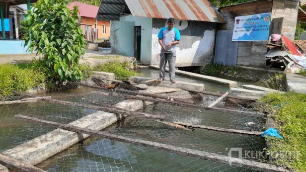 Ketua Karang Taruna Kota Padang Yaldi menebar pakan ikan ke kolam ikan UEP Karta Jaya.