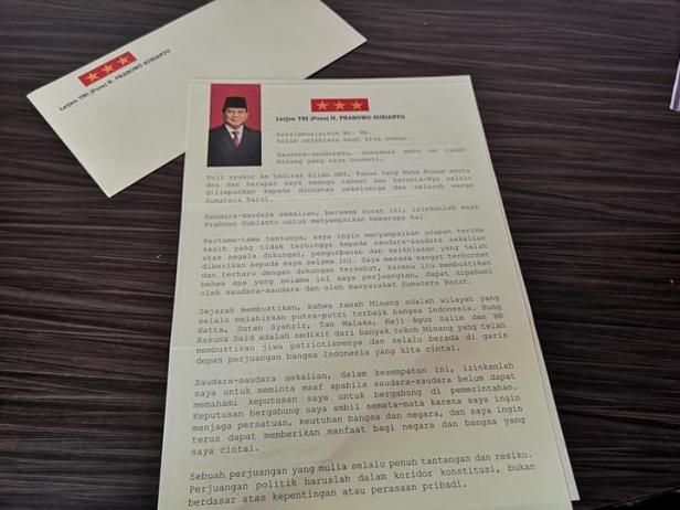 Surat Prabowo untuk masyarakat Sumbar