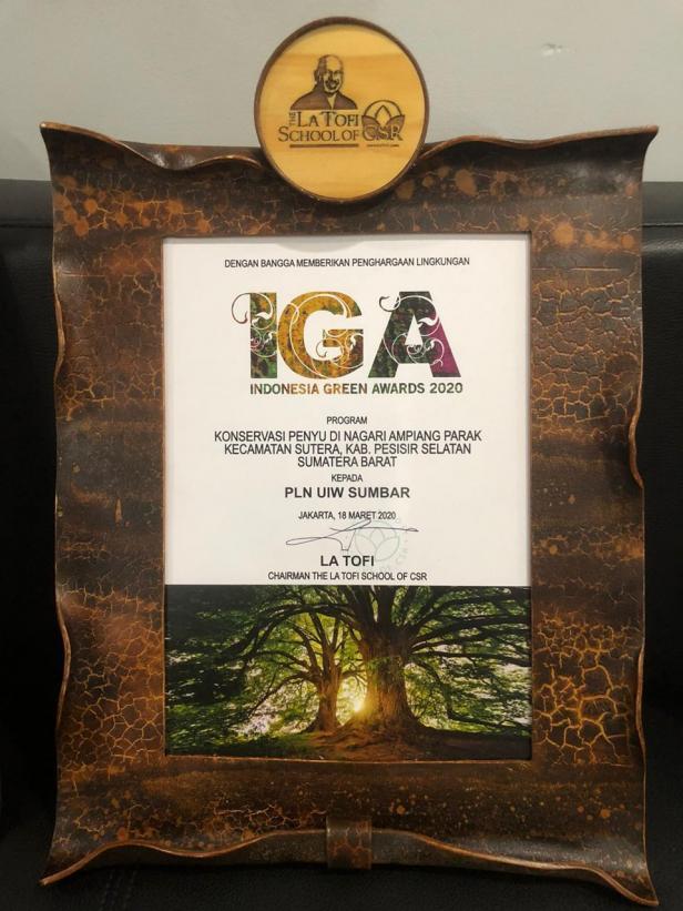 PLN UIW Sumbar raih Penghargaan Indonesia Green Award