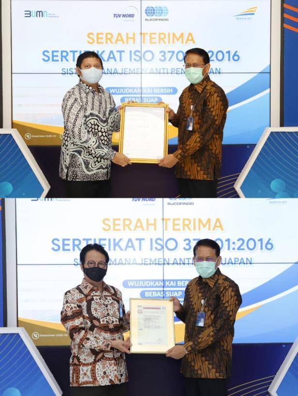PT KAI Raih ISO 37001:2016 untuk Sistem Manajemen Anti Penyuapan