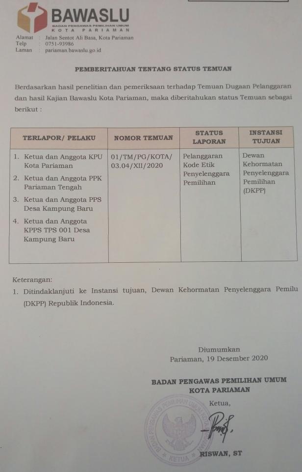 Status pelanggaran KPU Pariaman