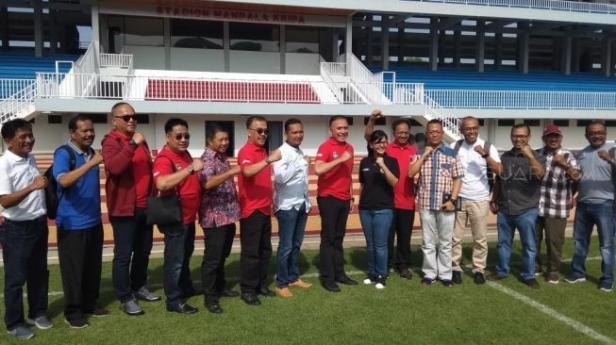 Ketua Umum PSSI, Mochamad Iriawan, bersama rombongan mengunjungi Stadion Mandala Krida, Yogyakarta, Sabtu (8/2/2020).