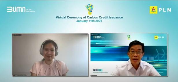 Sertifikat diserahkan secara virtual oleh Direktur Regional Asia Tenggara South Pole, Kat Khunikakorn kepada Direktur Utama PLN, Zulkifli Zaini, Senin( 11/01).