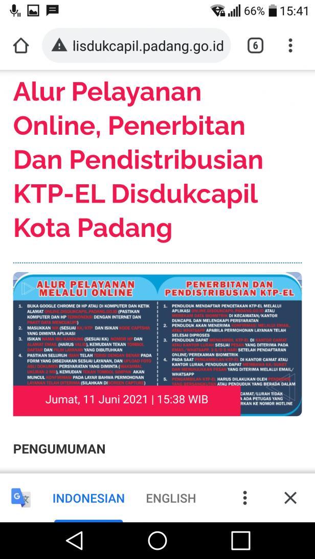 Alur pelayanan online Disdukcapil Padang