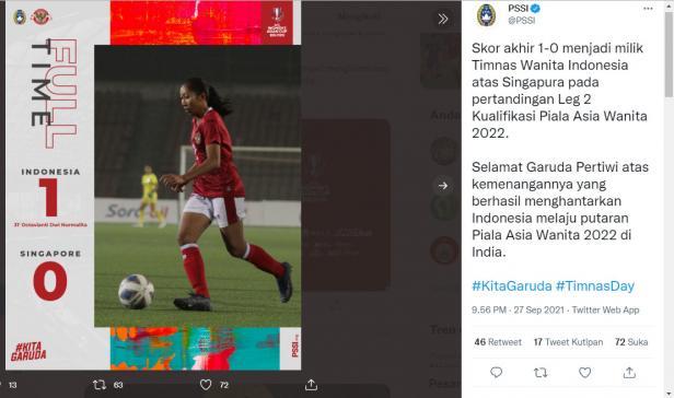 PSSI Unggah Hasil Kemenangan Timnas Wanita Indonesia di Twitter