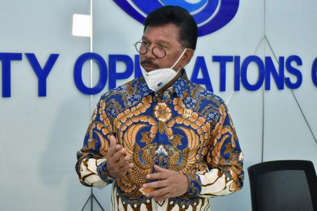 Menteri Kominfo Johnny G. Plate berikan tips lindungi data pribadi dari Ruang Cyber Drone Kantor Kementerian Kominfo, Jakarta, Senin (29/06/2020).
