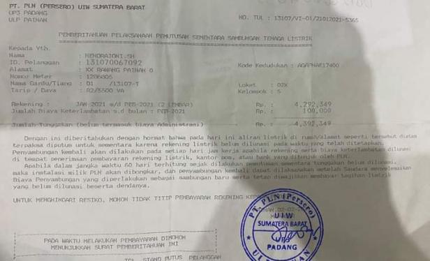 Surat pemberitahuan PLN kepada Hendrajoni SH terkait tunggakan listrik