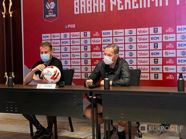 Pelatih Kepala PSS dalam Pre Match Press Conference Piala Menpora pada Minggu 11 April 2021 di Bandung.
