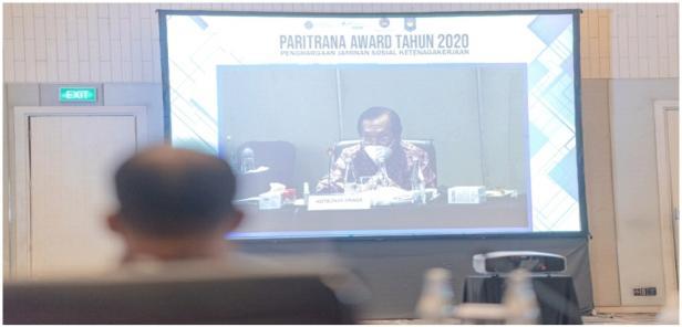 Penyampaian tentang gelaran Paritrana Awards yang diadakan oleh BPJAMSOSTEK
