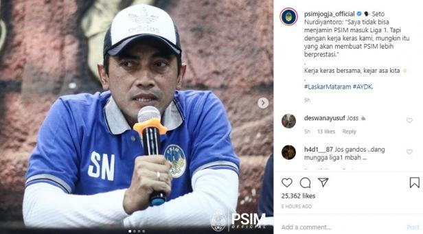 Seto Nurdiyantoro dalam postingan akun resmi @psimjogja_official
